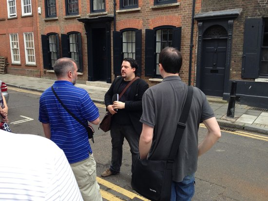 Eating London Tours: Jofre discussing the history of the East End.