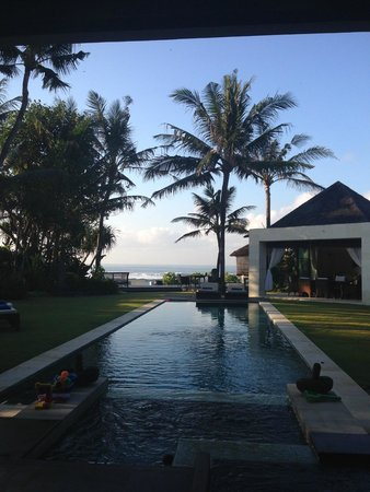 Majapahit Beach Villas: View from the house showing the dining pavillion