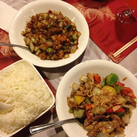 China-House Restaurant: kungpo shrimps and three cup chicken
