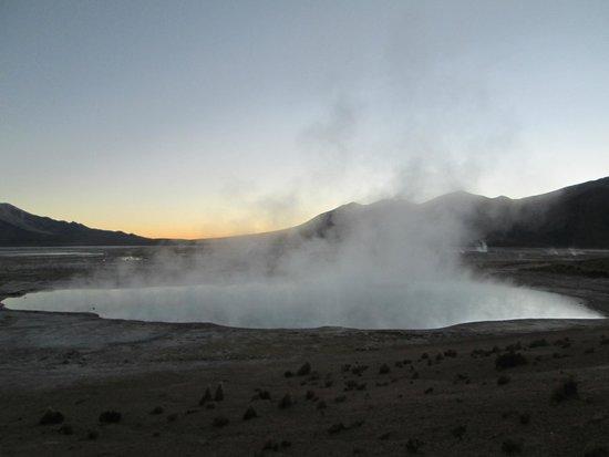 Salar de Surire : Hot springs at sunrise