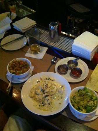 River Oyster Bar : Fried rice, blue crab gnocchi , Brussels sprouts