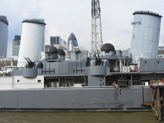 HMS Belfast: Amidships, showing 4 inch dual purpose guns