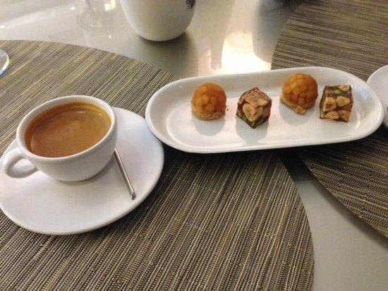 """Le Jardin des Plumes: Confections-caramel apple """"tarts"""" and hazelnut, pistachio nougat"""