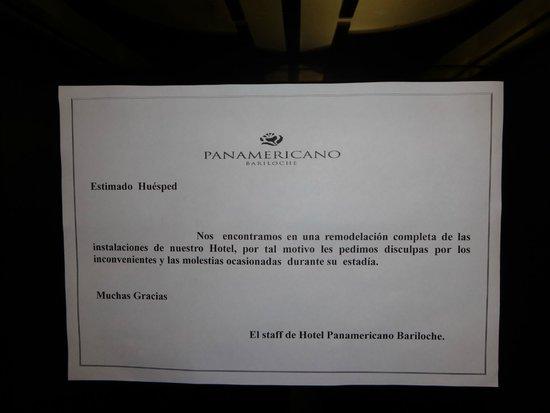 Gran Hotel Panamericano Bariloche: Aviso de Obras no Elevador