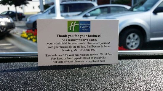 Holiday Inn Express Hotel & Suites Petoskey: Windshield washing card - happy travels!