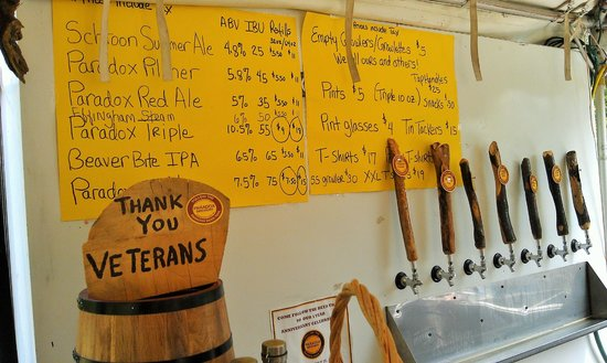 Paradox Brewery: Taps in the Tasting Tent.  Terrific!!
