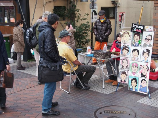 Yokohama Sakuragicho Washington Hotel : Having a portrait sketched at the street market