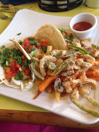 Sunshine Grill: World famous fish tacos with sunshine scramble.