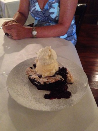Ira's at the Gibson Inn: fresh, local blueberry cobbler..,,not too heavy. A MUST