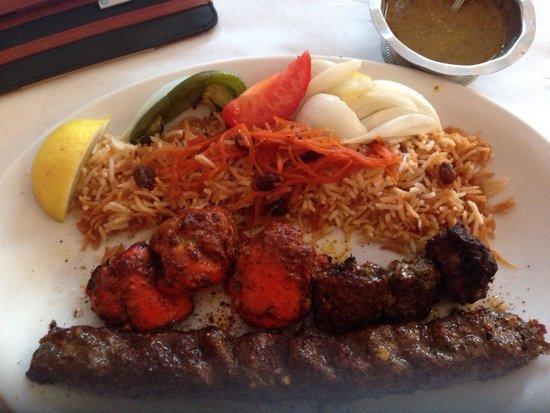 Kabul House: 3 kabobs and afghani rice
