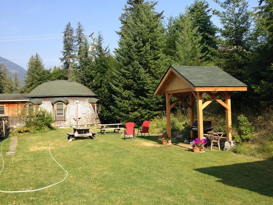 The Domes: Backyard.  BBQ, Fire pit and hot tub