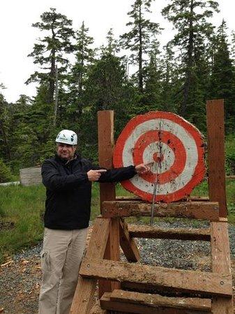 Alaska Zipline Adventures: bulls eye, dad!
