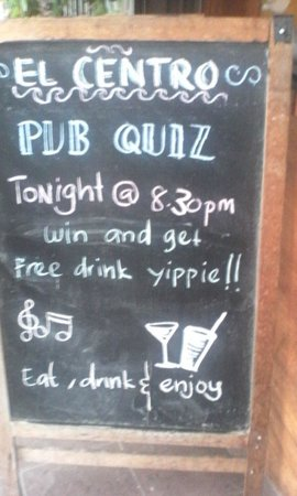 El Centro: Pub quiz every Wednesday at 8:30