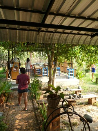Best Trip Cooking School: The outdoor Kitchen sheltered by the sun and surrounded by garden