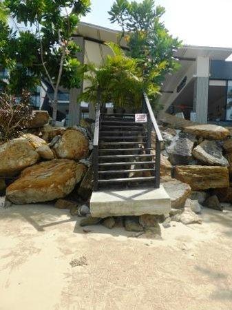 Beyond Resort Krabi: Wave damaged steps to beach.