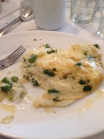 The Buttered Biscuit: Of course I forgot to take a shot prior to digging in but this was an egg white omelet with aspa