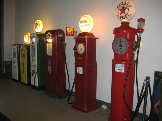 Pierce-Arrow Museum: Many old gas pumps are on display