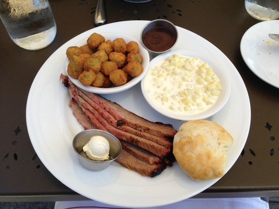 Sweet T's Restaurant & Bar: Beef Brisket with Fried Okra and Creamy Corn