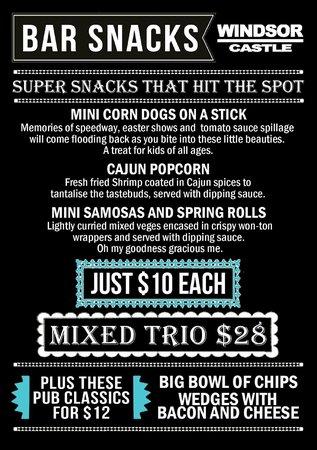 Windsor Castle: Bar snacks menu