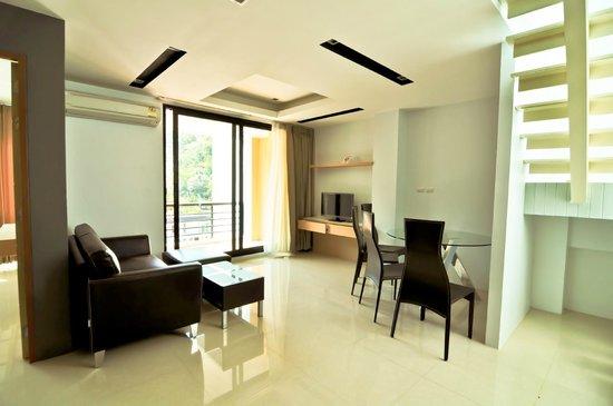 Royal Kamala Phuket Condominium : Living area in Penthouse 1-bedroom