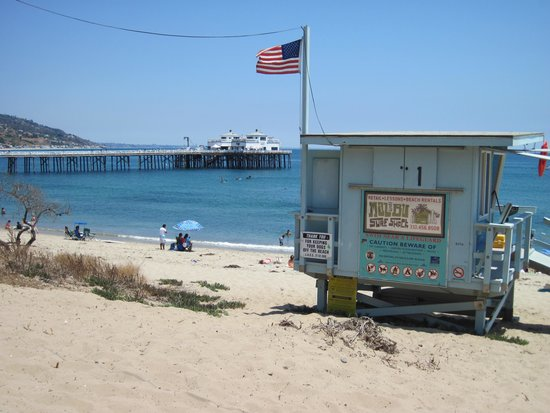 Malibu Pier, Beach and Lifeguard Hut.