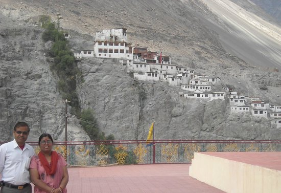 Diskit Gompa (Diskit Monastery): View of old monastery from Open monastery
