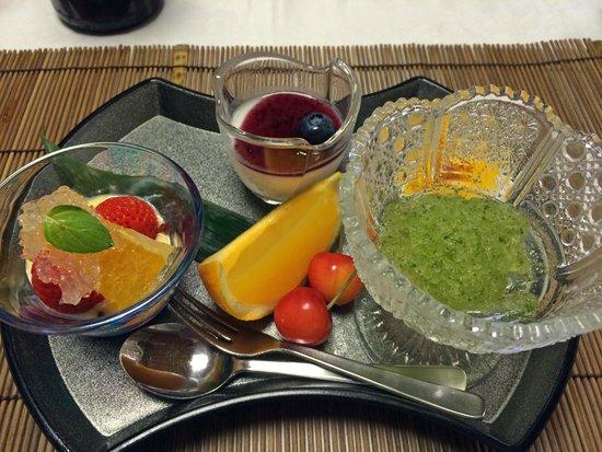Shikisai Ichiriki: 夕食デザート