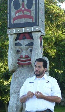 Argosy Cruises - Tillicum Excursion: Narrator tells a Native American story and totem pole design.