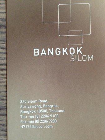 Novotel Bangkok Fenix Silom: Hotel address/card