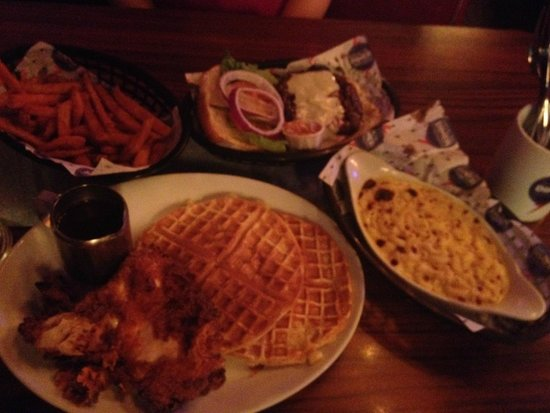 The Diner Soho: Fried chicken with waffles, mac&cheese, and sweet potatoe fries