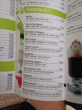 Riviera Beachotel: Cocktail menu at the front bar..Totally recommend