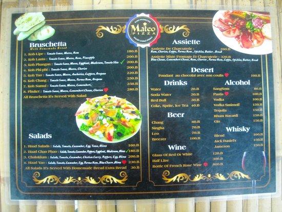 Mateo Pizza: menu