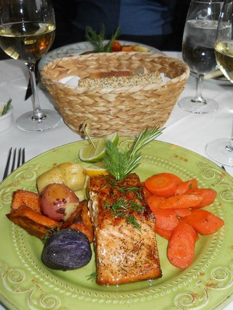 wood-grilled salmon at Sharpe Hill Vineyard