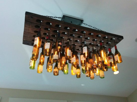 Roberto S Restaurant Unique Ceiling Light Fixture Made From Wine Bottles