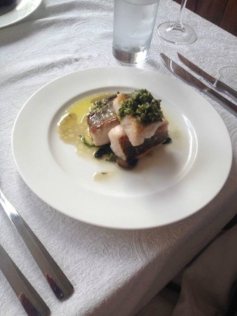 Iron Kettle B&B: Third course: Pan seared Lake Erie pickerel with sautéed spinach and mushrooms on a caper parsil