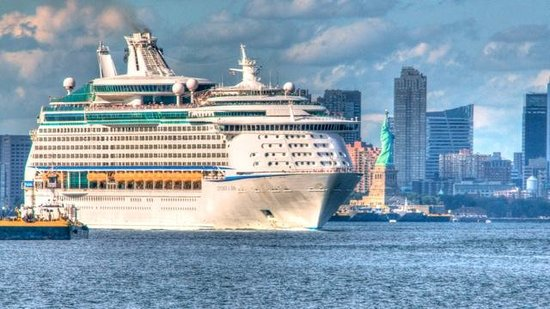 Window View - The Harbor House: Cruise Ship leaving New York