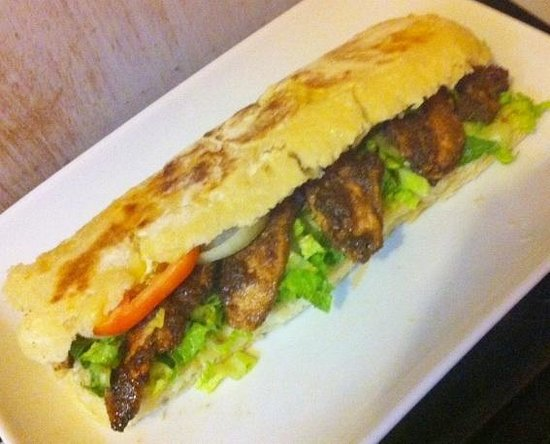 Bliss Cafe: Our Jerk Chicken Panini (homemade bread)