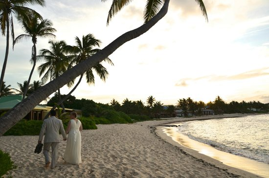 The Palms at Pelican Cove : wedding couple on the beach