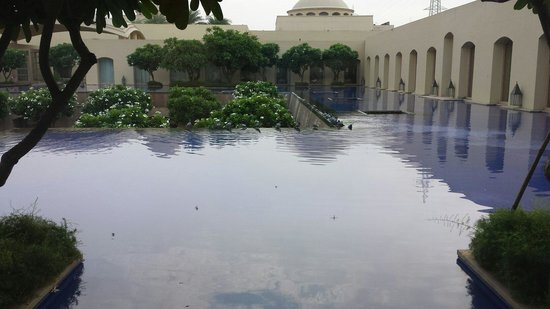 Trident, Gurgaon: Pool/courtyard view from room.  That's not the swimming pool.  It's down below.