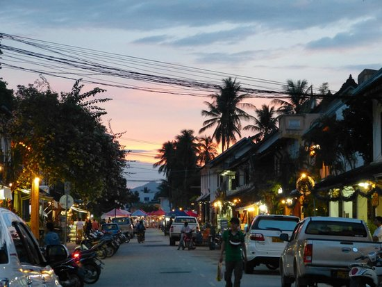 Sanctuary Luang Prabang Hotel: Sunset on main street