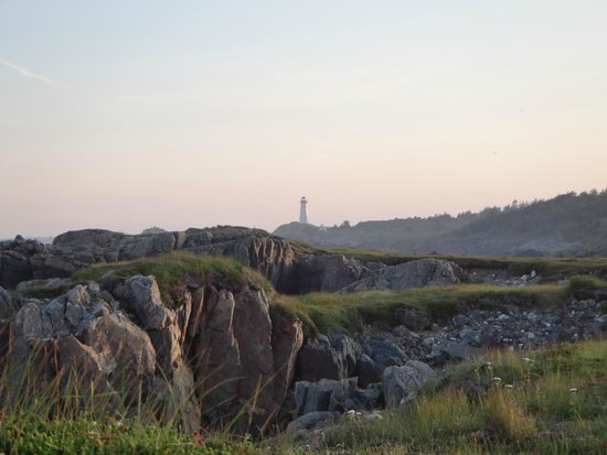 Louisbourg Lighthouse: View of the lighthouse from trail