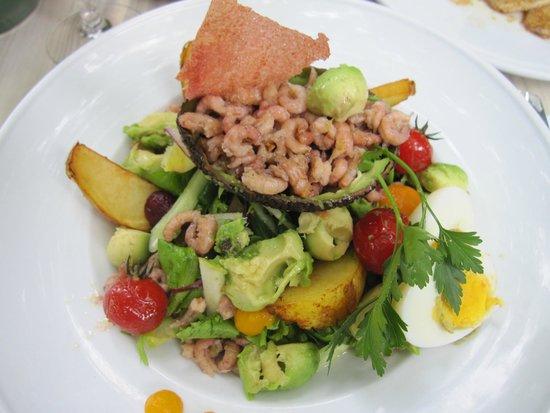 't Bagientje : Zeebrugse Garnelen auf ein Avocado Salat mit Bratkartoffeln