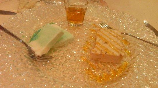 Ristorante Al Fosso Reale : Semifreddo latte menta e semifreddo nocciole e caramello