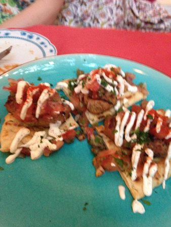 Katogi: Special lamb & beef kebab on pita with tomatoes, red onions and tzatziki
