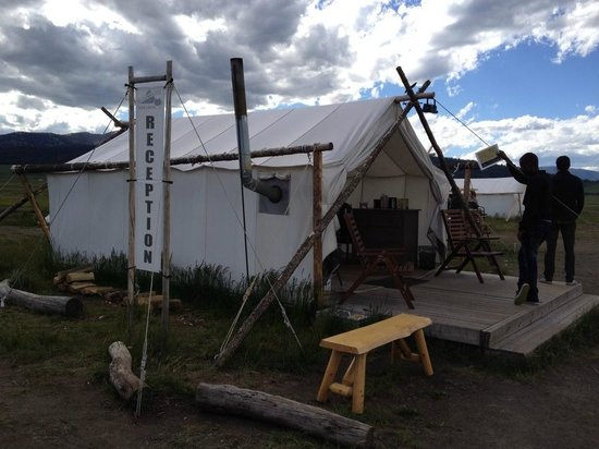 Yellowstone Under Canvas: Registration Tent w/ complimentary coffee, tea, hot cider & hot cocoa.  Charging station, too!