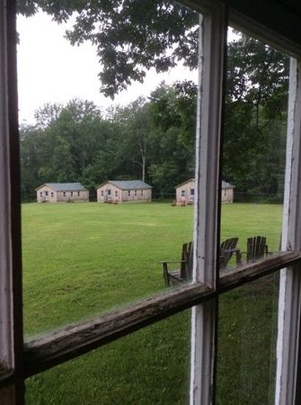 Medomak Camp and Retreat Center: Family cabins border a large grassy area.