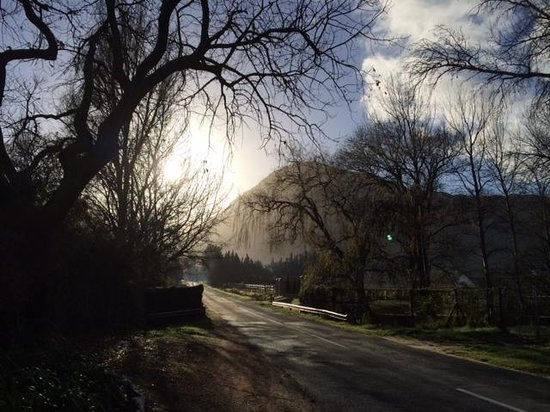 Riverside Cottages at La Bourgogne: Early morning view of the road leading to La Bourgogne
