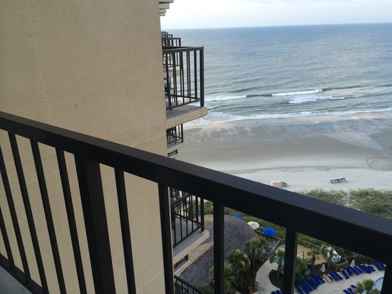 Hilton Myrtle Beach Resort: King Oceanview Suite Room 1525 - Bedroom - View from back balcony (which was the bedroom