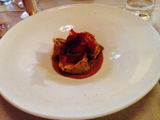 Hotel Camana Veglia: Manfregole con crema di porcini