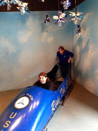 Adirondack Museum: My mom and I testing out the Bobsled.